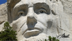 DAVID STRUTT re Mt Rushmore: 'Detail of Lincoln reveals the sculptor's skill and fearless determination.' CLICK TO ENLARGE