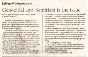 110627 Mark Vandermaas letter to Hamilton Spectator: 'Genocidal anti-Semitism is the issue'