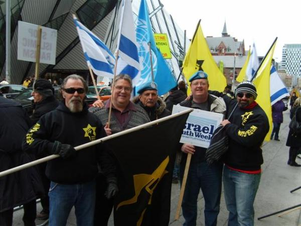 120330 Merlyn Kinrade (centre w/UN flag) with Gary McHale, Mark Vandermaas and members of Jewish Defence League, Israel Consulate, Toronto