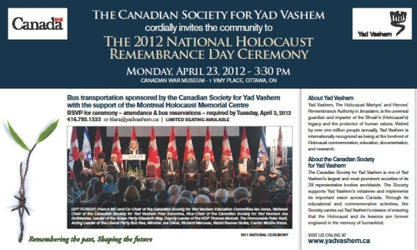 120423 YadVashem Ottawa event. CLICK TO ENLARGE