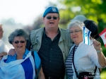 Mark Vandermaas w/supporters on Day 11 of 'Blue Beret' vigil, London, Ontario, Canada, July 03/11