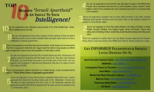 "Never Again Group (Hamilton, ON, Canada): Top 10 Reasons ""Israeli Apartheid"" is an insult to your intelligence!"