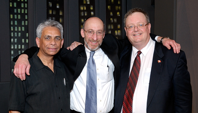 Dr. Salim Mansur; Rabbi Jonathan Hausman; Mark Vandermaas at inaugural Israel Truth Week Conference, London, ON, Canada, March 21/12