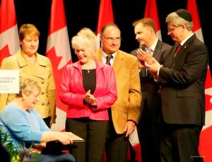 120423 Prime Minister Harper w/'Righteous Among Nations' recipients, National Holocaust Remembrance Day ceremony, Ottawa, Ontario, Canada