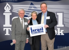 Salomon Benzimra (author of 'The Jewish Peoples Rights To The Land of Israel') and Goldi Steiner, founders of Canadians for Israel's Legal Rights (CILR), with ITW founder Mark Vandermaas (far right), 2013 Israel Truth Week conference, March 5-6 (photo taken March 5/13)