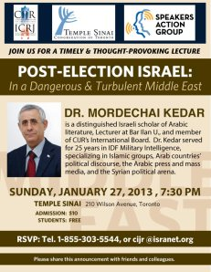 130127 CIJR Mordechai Kedar lecture: 'Post Election Israel: In A Dangerous & Turbulent Middle East'