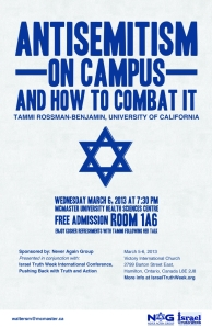 Never Again Group poster: Tammi Rossman-Benjamin event, McMaster University - keynote finale to Israel Truth Week conference