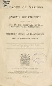 League of Nations 'Mandate For Palestine' 1922