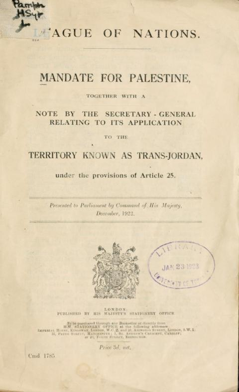 Training Booklet - Mandate For Palestine: Original + Text + Summary